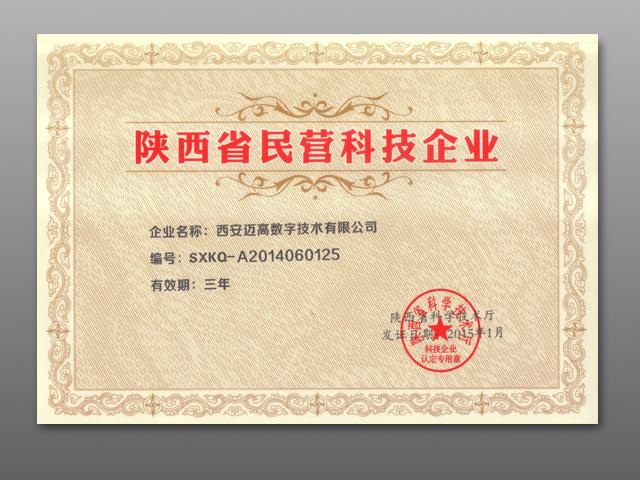 陕西省民营科技企业证书